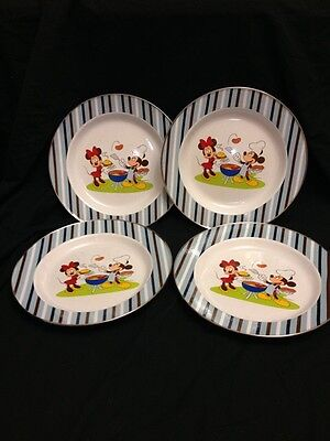 4 Vintage Disney Store Mickey & Minnie Mouse Metal Dinner Plates BBQ Camping