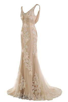 Champagne White Ivory Wedding Dress Bridal Gown Custom Size 4 6 8 10 12 14 16 18