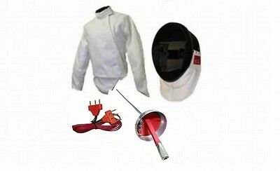 4 PC Electric Fencing Epee Set: Mask, Jacket, Body Cord, Epee with French Handle