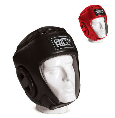 Casco Da Kick Boxing Green Hill Glory Nero Rosso Boxe Head Guard Caschetto