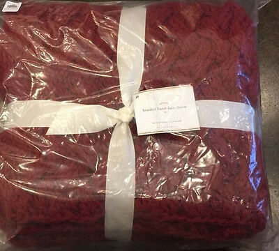 """NWT Pottery Barn Cardinal Red BRAIDED HAND-KNIT Throw Blanket 44 x 56"""""""
