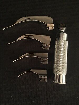 RUSCH Laryngoscope Set w/Battery Operated Handle & 4 Blades Macintosh 1, 2, 3, 4