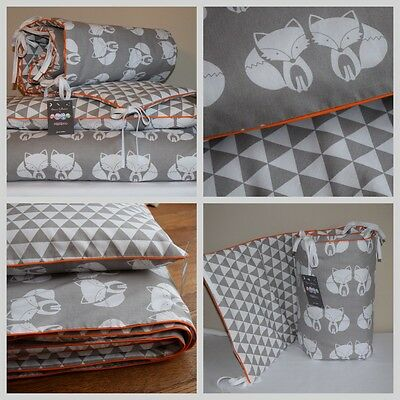 100%COTTON Cot Bed Duvet Cover Set Girls Boys Grey Fox geomertic Orange Woodland