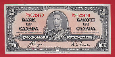 ✪ 1937BR 3622449  Canada Two 2 Dollar Note Coyne Towers  AU - 55