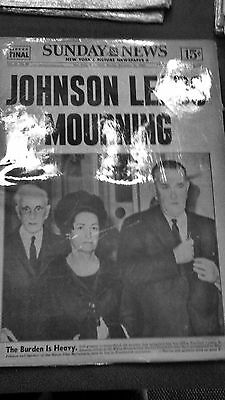 Rare Vintage Newspaper - Johnson Leads Mourning
