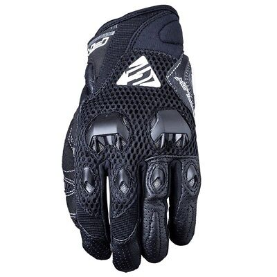 Five Stunt EVO Airflow Road Street Bike Black Leather Vented Motorcycle Gloves