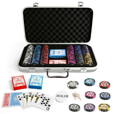 300 Chips Poker Game Set Silver Aluminium Case The Star 14g Chips Plastic Cards