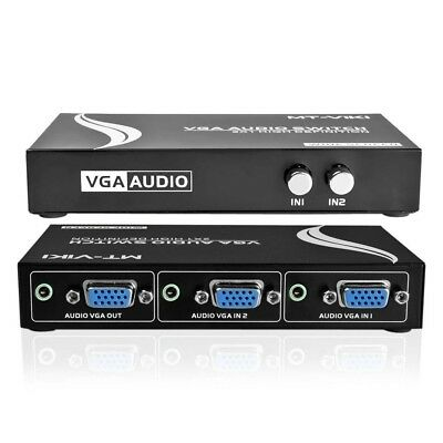 2 Ports 2 In 1 Out VGA Audio Video Metal Splitter Switch Box Selector PC Sharing
