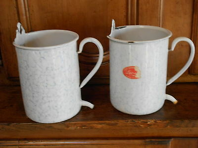2 Old French White Enamelware graniteware Jardiniere Planters