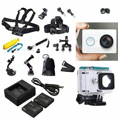 AU XiaoMi Yi Sports Action Camera+Accessories Kit+Dual charger Battery Case Belt