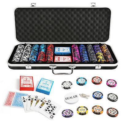 500 Chips Poker Game Set Black Aluminium Case The Star 14g Chips Plastic Cards