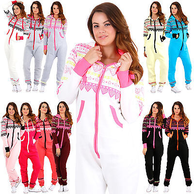 New Womens Onesie Ladies Jumpsuits HEART PRINT One Piece Hood Tracksuit Playsuit