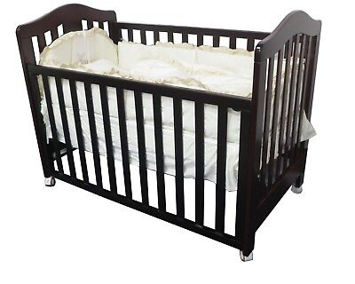 New 3 In 1 Classic Cot & Innerspring Mattress Crib Baby English Oak Dark Walnut