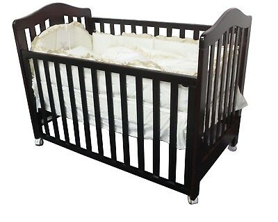 New 3 In 1 Classic Cot With Organic Innerspring Mattress Crib Baby Dark Walnut
