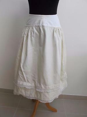 ANTIQUE VICTORIAN GIRL'S WOOL & CROCHET LACE WINTER PETTICOAT c1890