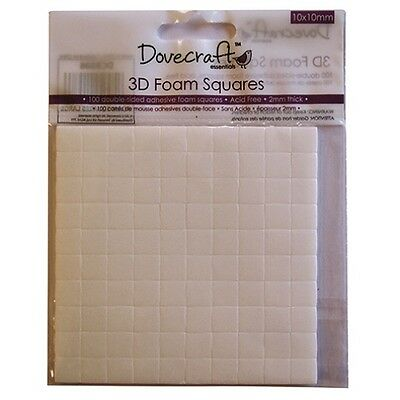 DOVECRAFT 100 DOUBLE SIDED GLUE 3D FOAM SQUARES PADS 10mm x 10mm x 2mm