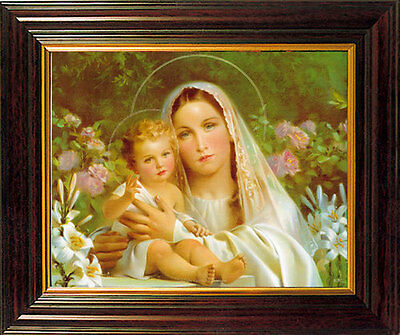 Madonna And Child Mary Jesus Framed Picture - Religious Statues Candles Listed