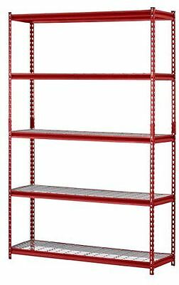 NEW Heavy Duty Metal Storage 5 Shelves Shelf Rack Steel Shelving 48 x 18 72 Red