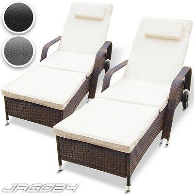 Set of 2 Polyrattan Sun Lounger Adjustable Garden Furniture Sunbed Recliner