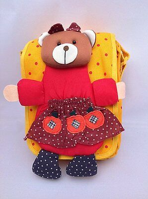 Chidren's Handmade Messenger Bags - with Plush Embellished Bear - Yellow or Red