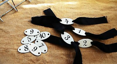 French Enamel Numbered Tags, Vintage brass key tags, luggage tags!