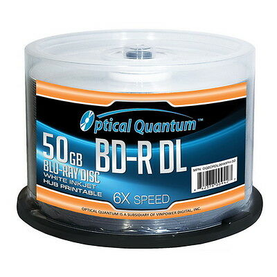 50 Optical Quantum 6x 50GB Blu-ray Double Layer BD-R DL White Inkjet Printable
