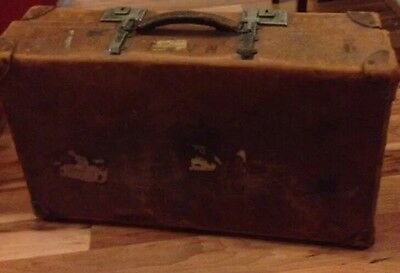 fabulous vintage leather suitcase with LMS Railway stickers