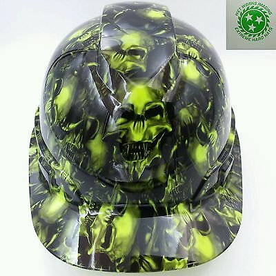 Hard Hat custom hydro dipped , OSHA approved TERMINATOR SKULLS LIME GREEN