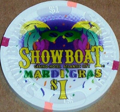 Old $1 SHOWBOAT Casino Poker Chip Vintage Antique House Mold Atlantic City 1987