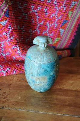 Old Egyptian Canopic Jar or Organ Jar…  wonderful glaze & colour...