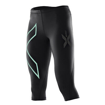 2XU Womens Compression 3/4 Tights | Black/Ice Green