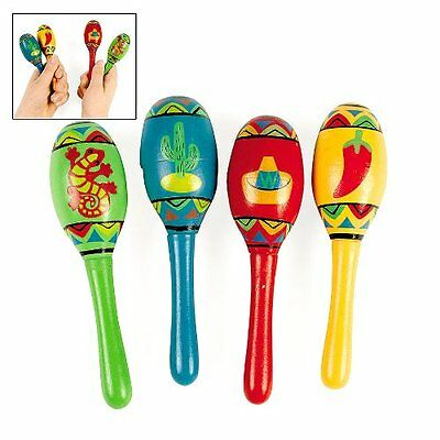 12 Mini Wooden Fiesta Maracas Assorted color design Party Supplies Noisemakers