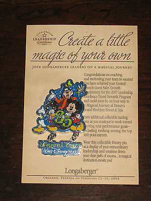 Rare Longaberger Incentive Disney Mickey Donald Goofy Trip Dangle Lapel Pin 35 y