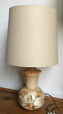 Vintage Jersey Pottery Lamp with Original Lampshade Retro Tested and Working