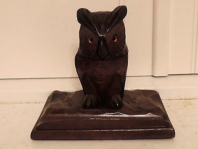 Vintage Black Forest Owl w/Glass Eyes Inkwell & Pen Holder