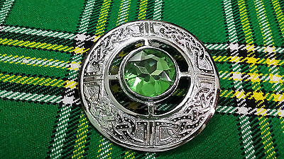 "Mens Fly Plaid Brooch Parrot Color Stone 3""/Celtic Brooch Kilt Fly Plaid Chrome"