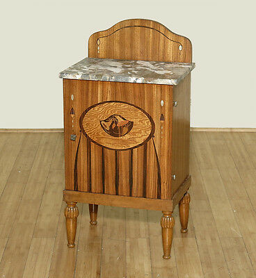 Antique French Oak Marquetry Art Deco Marbletop Nightstand Side Table Cabinet