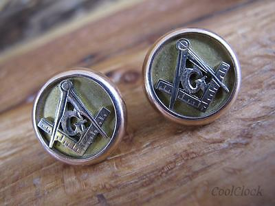 1880 Antique 10K Yellow Gold Masonic Free Mason Cuff Links #J64