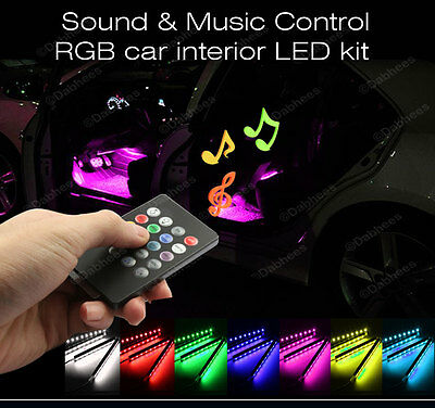 12V Car Interior RGB colour LED Strip Light Wireless Music Control 7 Colors