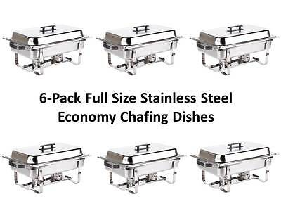 6-Pack NEW Choice Economy Full Size 8 Quart Stainless Steel Chafers 100ECONCHAFE