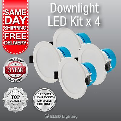 Pack of 4 Led Down Lights 240 V 3 Colour super bright 850 Lumen 10 Watt Dimmable