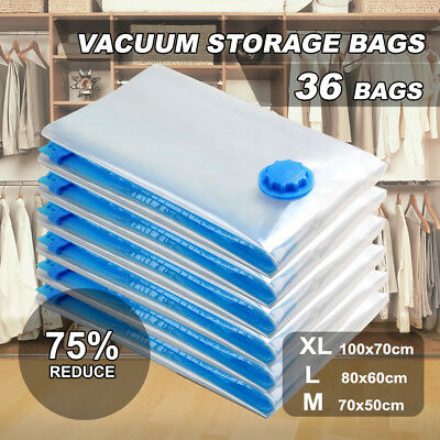 36 X Vacuum Storage Bags Saver Seal Compressing Space Saving Medium Extra Large