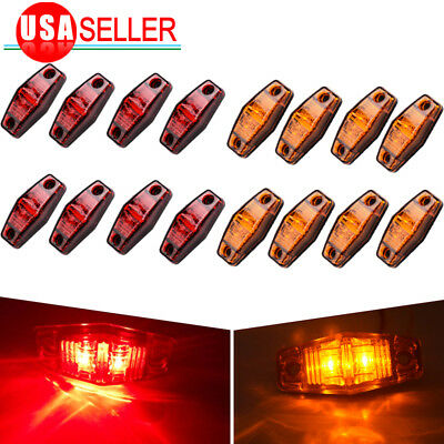 16pcs 2 Diode Universal Mount Clearance Trailer Side Marker Light Red/Amber US