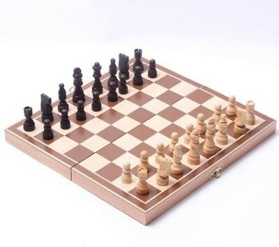 TR0129 Classic Wooden Chess Set Board Game Foldable Portable Travel Gift
