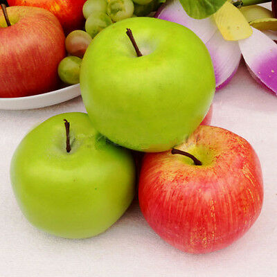1x/5x Large Red Green Apples Decorative Plastic Artificial Fruit Imitation Fake