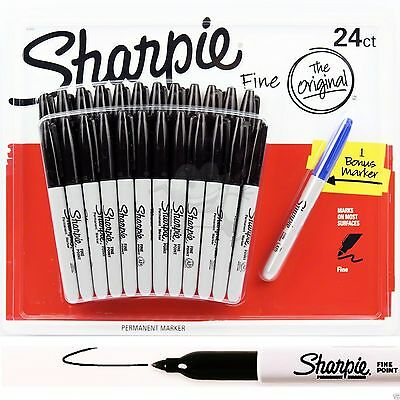24 +1 SHARPIE Markers Black Permanent Sharpies Marker Pen Bulk Texta Fine Point