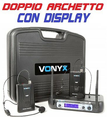 COPPIA RADIOMICROFONI MICROFONI ARCHETTO WIRELESS VHF HEADSET TEATRO RECITE new