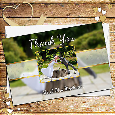 10 Personalised Stunning Wedding Day Thank you Thankyou PHOTO Cards N244