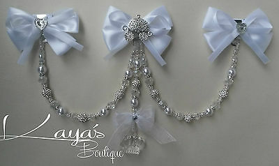 New Baby Girl/Boy Clip On Romany Pram Charm *White Princess* Shamballa Crystal