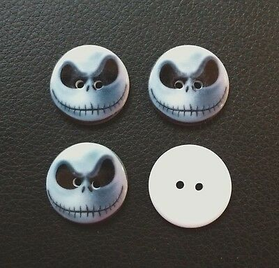 4 x NIGHTMARE BEFORE CHRISTMAS JACK RESIN 23mm 2 HOLE SEWING BUTTONS